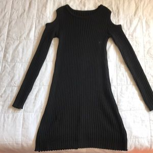 Black Knit Cold-Shoulder Sweater Dress (Small)